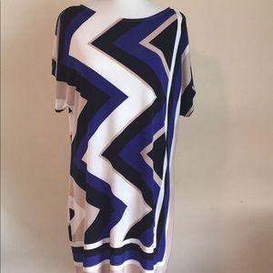 Studio One NY Blue Tan Graphic Knit Dress XL